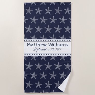 Beach Themed Cute Navy Blue Starfish Custom Beach Towel