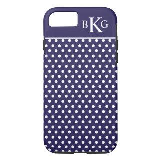 Cute Navy Blue White Polka Dots Custom Monogram iPhone 8/7 Case