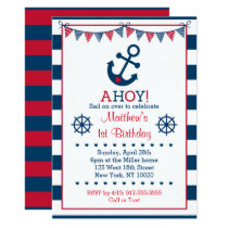 Cute Navy & Red Nautical Birthday Card