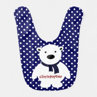 Cute Navy/White Polka Dots, Polar Bear, Add name Bibs
