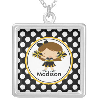 Cute Necklace Cheerleader Black Polka Dots Pendant