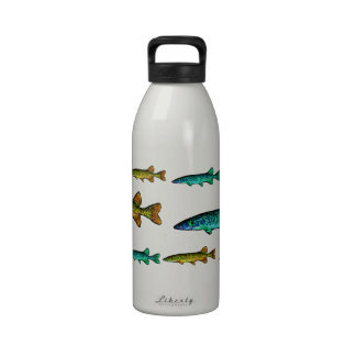 Cute Neon Fish Blue Turquoise and Gold Yellow Water Bottle