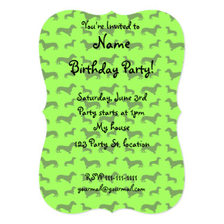 Cute neon green dachshund pattern 5x7 paper invitation card