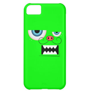 Cute Neon Green Mustache Monster Emoticon Cover For iPhone 5C