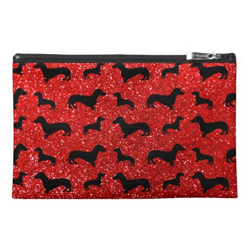 Cute neon red dachshund glitter pattern travel accessories bags