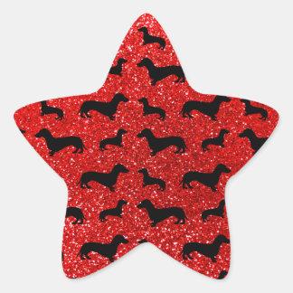 Cute neon red dachshund glitter pattern stickers