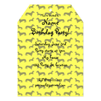 Cute neon yellow dachshund pattern 5x7 paper invitation card