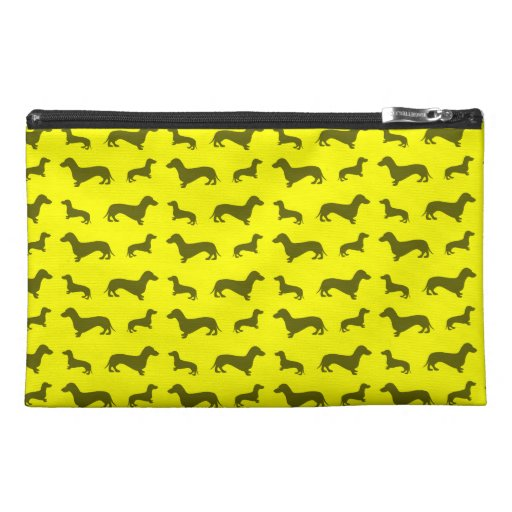 Cute neon yellow dachshund pattern travel accessories bag