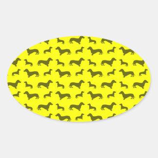 Cute neon yellow dachshund pattern oval stickers