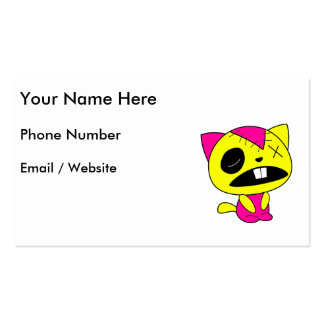 Cute Neon Zombie Kitty Cat Business Card