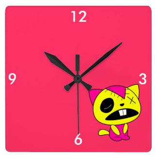 Cute Neon Zombie Kitty Cat Clocks