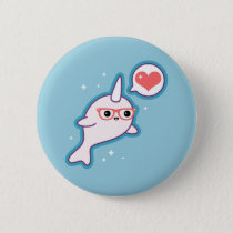 Cute Nerd Narwhal Pinback Button
