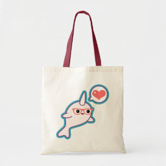 Cute Nerd Narwhal Tote Bag