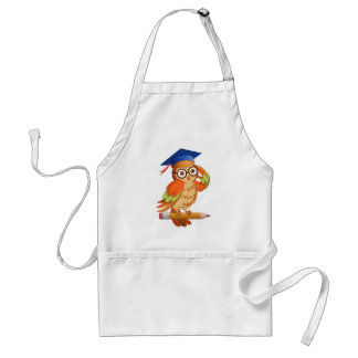 Cute nerd owl on top of a pencil adult apron
