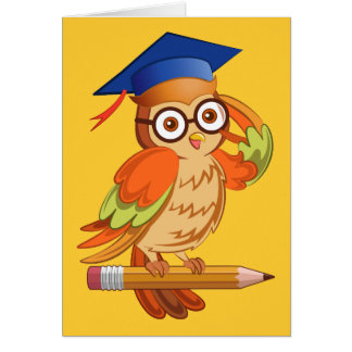 Cute nerd owl on top of a pencil greeting card