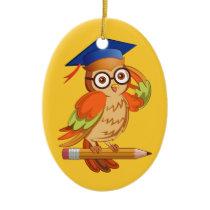Cute nerd owl on top of a pencil ceramic ornament