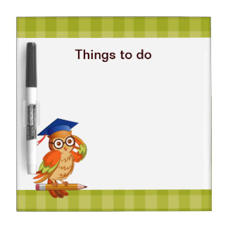 Cute nerd owl on top of a pencil dry erase board