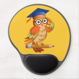 Cute nerd owl on top of a pencil gel mouse pad