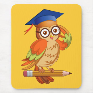Cute nerd owl on top of a pencil mouse pad