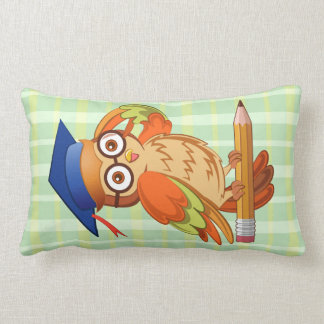 Cute nerd owl on top of a pencil throw pillow