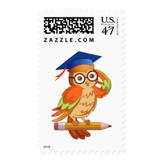 Cute nerd owl on top of a pencil postage