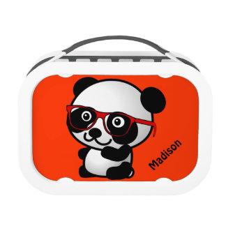 Cute Nerd Panda Bear Personalized Replacement Plate