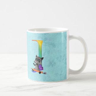 Cute Nerd Raccon Initial J Coffee Mug