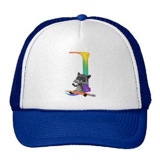 Cute Nerd Raccon Initial J Trucker Hat