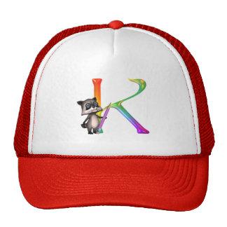 Cute Nerd Raccon Initial K Trucker Hat