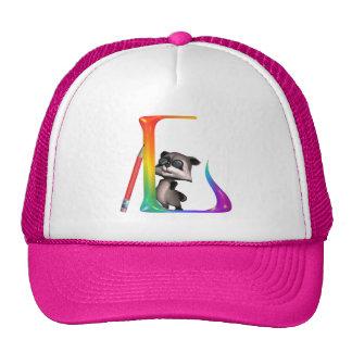 Cute Nerd Raccon Initial L Trucker Hat