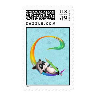 Cute Nerd Raccon Monogram C Stamp