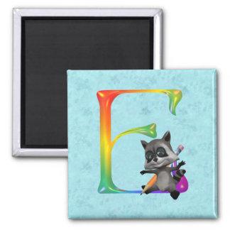 Cute Nerd Raccon Monogram E 2 Inch Square Magnet