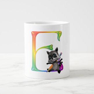 Cute Nerd Raccon Monogram E Giant Coffee Mug