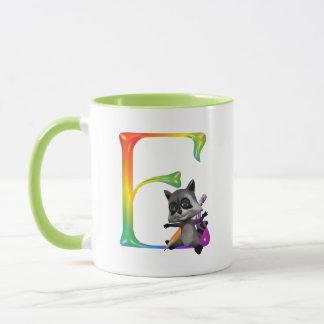 Cute Nerd Raccon Monogram E Mug