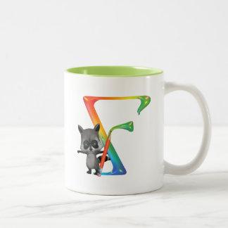 Cute Nerd Raccon Monogram F Two-Tone Coffee Mug