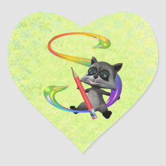 Cute Nerd Raccon Monogram S Heart Sticker