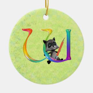 Cute Nerd Raccon Monogram W Ceramic Ornament