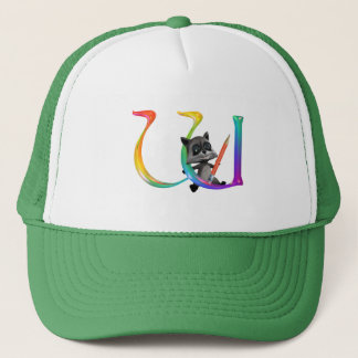Cute Nerd Raccon Monogram W Trucker Hat