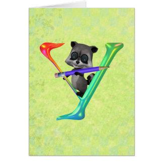 Cute Nerd Raccon Monogram Y Card