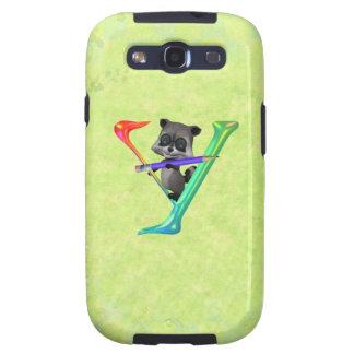 Cute Nerd Raccon Monogram Y Samsung Galaxy S3 Cases