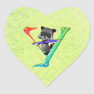 Cute Nerd Raccon Monogram Y Heart Sticker