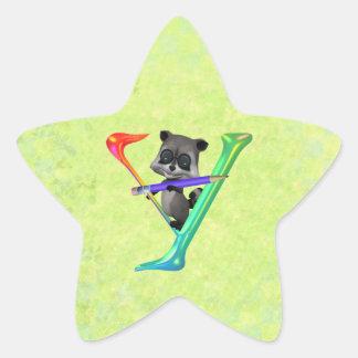 Cute Nerd Raccon Monogram Y Star Sticker