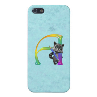 Cute Nerd Raccoon Monogram A iPhone SE/5/5s Case