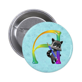 Cute Nerd Raccoon Monogram A Pinback Buttons