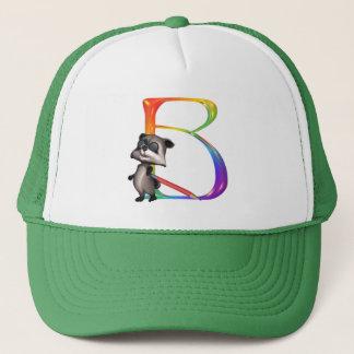 Cute Nerd Raccoon Monogram B Trucker Hat