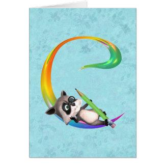 Cute Nerd Raccoon Monogram C Card