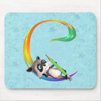 Cute Nerd Raccoon Monogram C Mousepads