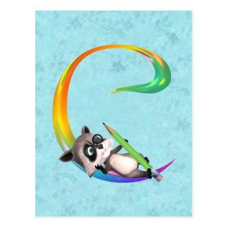 Cute Nerd Raccoon Monogram C Postcard