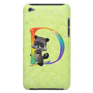Cute Nerd Raccoon Monogram D iPod Touch Cover