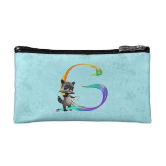 Cute Nerd Raccoon Monogram G Cosmetic Bag